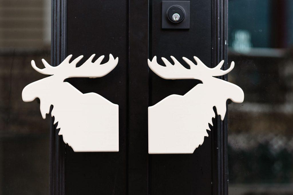 Moose Mulligans front doors, Sicamous restaurants, Sicamous BC