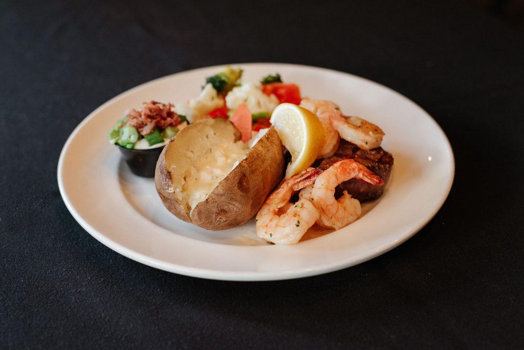 Steak and shrimp, Sicamous Restaurants, Moose Mulligans, Sicamous BC