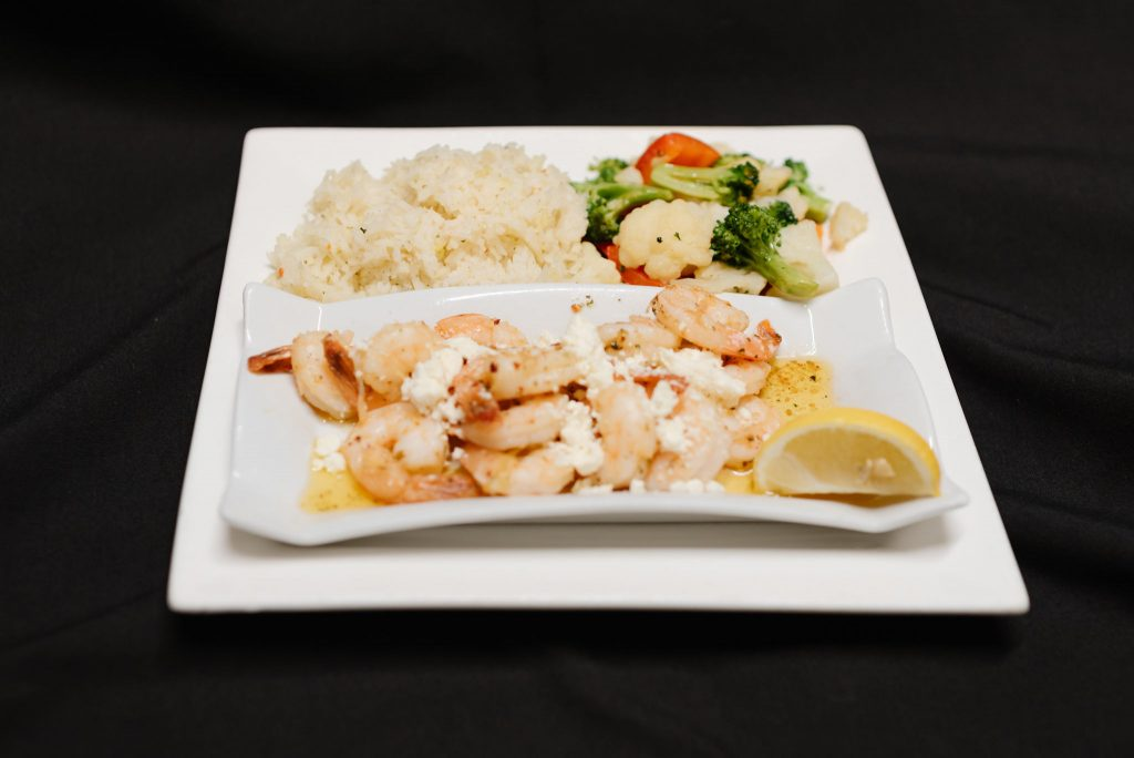 Garlic prawns and rice, Moose Mulligans, Sicamous Restaurants, Sicamous BC